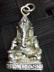 画像1: 立体 ガネーシャ シルバー ペンダントトップ [Silver925] [学問・商売繁盛の神]  (1)