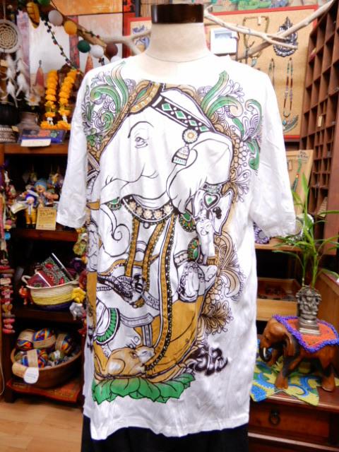 画像1: ガネーシャ メンズ半袖Tシャツ XL      (1)