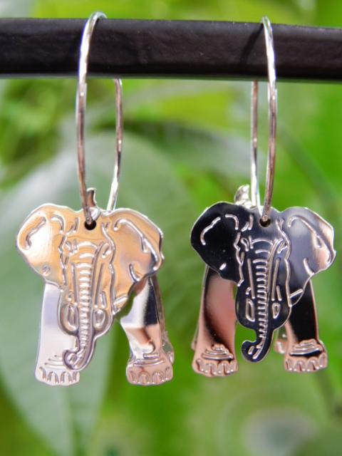 画像1: 立体 象さんフープピアス (1)